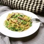 Spaghetti carbonara met snijbonen & katenspek