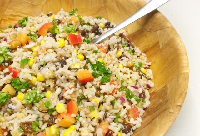 Rijstsalade met maïs & zwarte bonen van het North Star Café